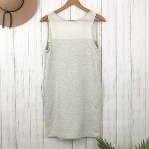 Zara   Gray Jersey Tank Dress Sheer Yoke Size M
